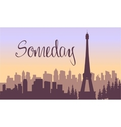 Beautiful eiffel tower of silhouette vector
