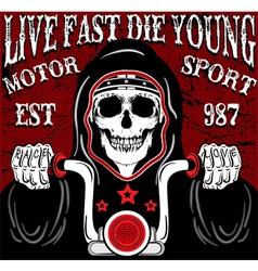 Skull motorcycle poster vintage man t shirt vector