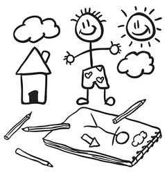 black and white doodles vector image