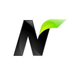 N letter black and green logo design fast speed vector