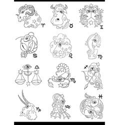 fantasy horoscope zodiac signs vector image