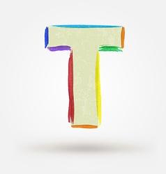 Alphabet letter t watercolor paint design element vector