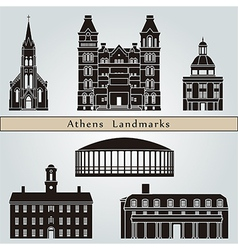Athens landmarks and monuments vector