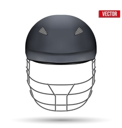 Black Cricket Helmet Front View vector image