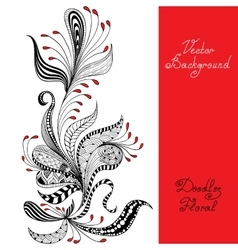 Black red and white floral pattern vector