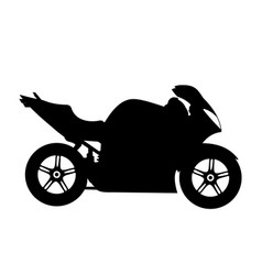 black silhouette on a motorcycle vector image vector image