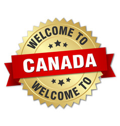 canada 3d gold badge with red ribbon vector image vector image