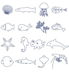 Fish and sea life outline icons set eps10 vector