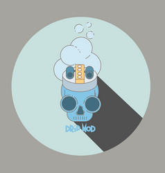 Flat of skull vape shop logo vector