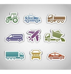 flat retro color stickers - set four vector image vector image