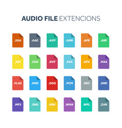 Flat style icon set audio song voice recording vector