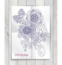 Floral element for card hand drawn artwork with vector