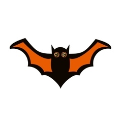 Flying black and orange bat icon vector