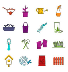 gardening icons doodle set vector image