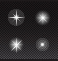 glowing lights and stars on transparent background vector image