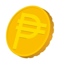 Gold coin with peso sign icon cartoon style vector