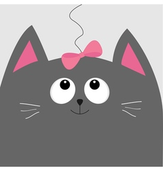 Gray cat head looking at pink bow hanging on vector