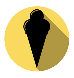 Ice cream sign flat black icon with flat vector