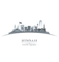 jeddah saudi arabia city skyline silhouette white vector image vector image