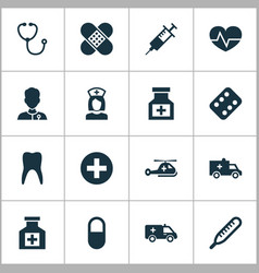 Medicine icons set collection of plus painkiller vector