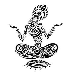 Meditation lotus pose tattoo style vector