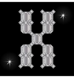 Metal letter x gemstone geometric shapes vector