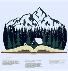 nature in opened book camping graphics outdoor vector image