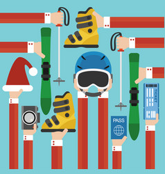 new year holiday with skiing set design flat vector image vector image