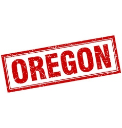 Oregon red square grunge stamp on white vector