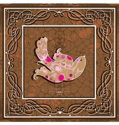 Ornamental bird on grunge background vector image vector image