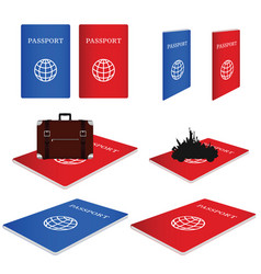 Passport red and blue with vintage suitcase vector
