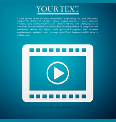 Play video flat icon on blue background vector