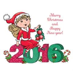 Santa Girl 2016 vector image vector image