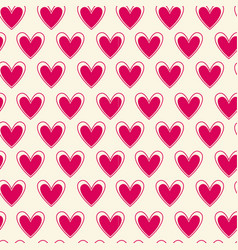 seamless pattern with bright pink hearts on white vector image vector image