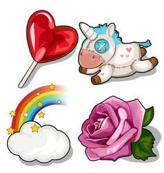 Set of heart lollipop unicorn rose and rainbow vector