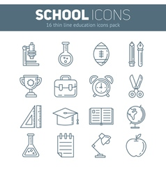 Set of school thin lined flat icons vector
