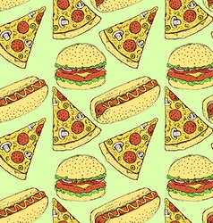 Sketch fast food in vintage style vector image vector image