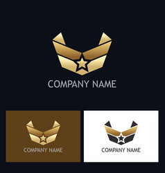 star wing emblem gold logo vector image