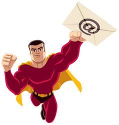 superhero flying e-mail vector image vector image