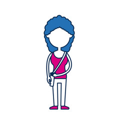 Teenager girl school people cartoon in blue and vector