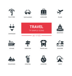 Travel - line design icons set vector
