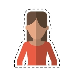 Woman faceless casual clothes cutting line vector