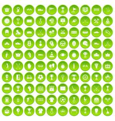 100 awards icons set green circle vector