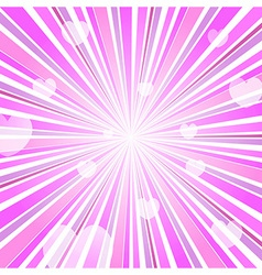 Abstract love heart burst ray background pink vector
