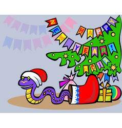 Snake in santa hat vector