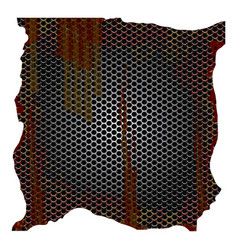 Dirty and rusted metallic grill perforated vector