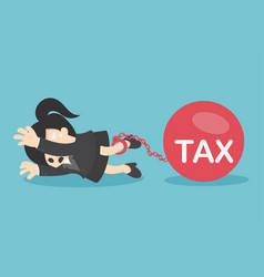 business woman flattened by ball tax vector image