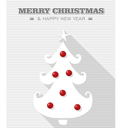 Merry christmas red dot white tree vector