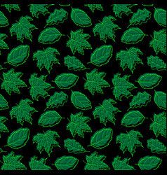 Leaves seamless green big dark vector