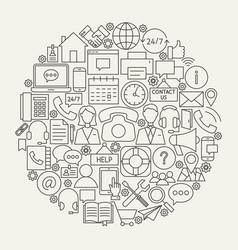 Contact us line icons circle vector